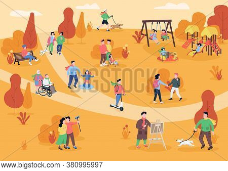 Rest In Autumn Park Flat Color Vector Illustration. People Walking With Pets. Park Visitors Having F