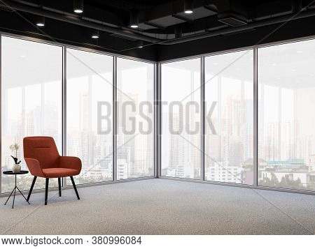Modern Office Corner With City View 3d Render, Gray Carpeted Floors, Glass Walls And Black Ceiling D