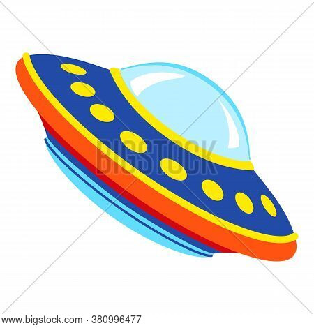 Ufo Spaceship Icon. Cartoon Of Ufo Spaceship Vector Icon For Web Design Isolated On White Background