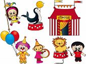 a illustration of funny circus icons isolated poster