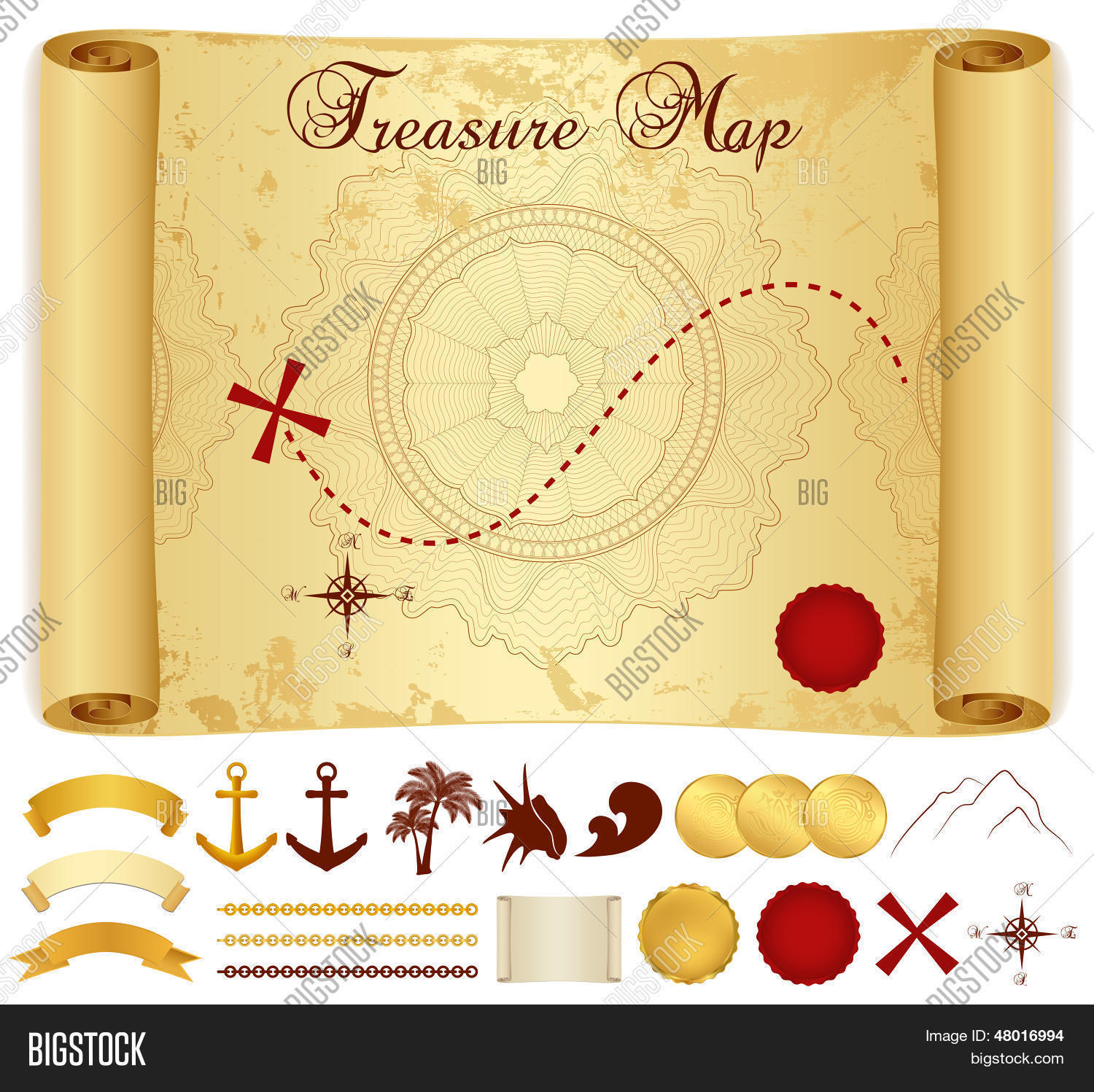 Treasure Map On Old Vintage Antique Paper Scroll Or Parchment