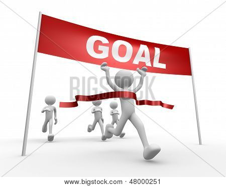 3D People - Man, Person And Finish Line. Goal
