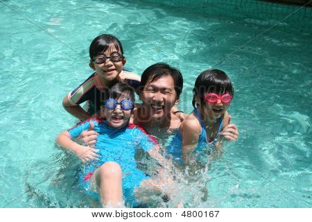 Father And Children In The Pool