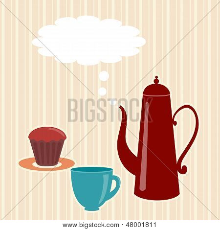 Greeting card with teapot and speech bubble poster