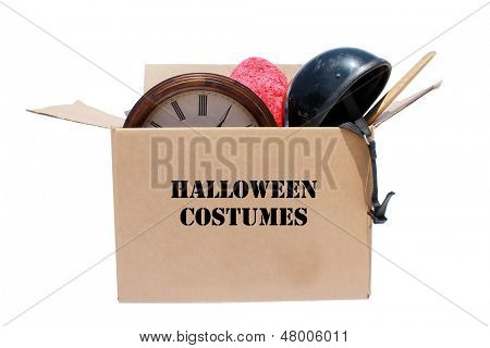 A Genuine Box of used items ready for a garage sale, Yard Sale, Auction, or donation to a charitable organization. One man's junk is another man's treasure! Isolated on white with room for your text  poster