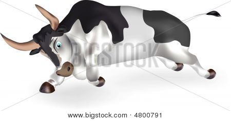Running bull on a white background. It is drawn with use mesh poster