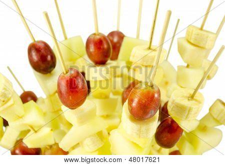 Fruit Grape Banana Scewers Stick Diet Food