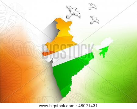 Republic of India map in Indian tricolors with flying pigeons for Independence Day and Republic Day.  poster