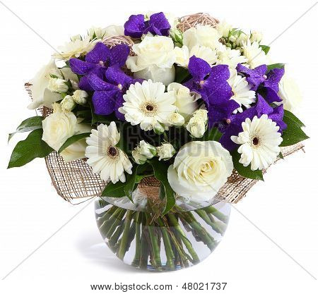 Floral Composition In Glass, Transparent Vase: White Roses, Violet Orchids, White Gerbera Daisies, G