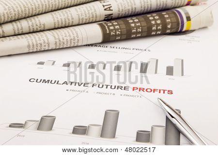 Diagramm und Chart, kumulative zukünftige Gewinne