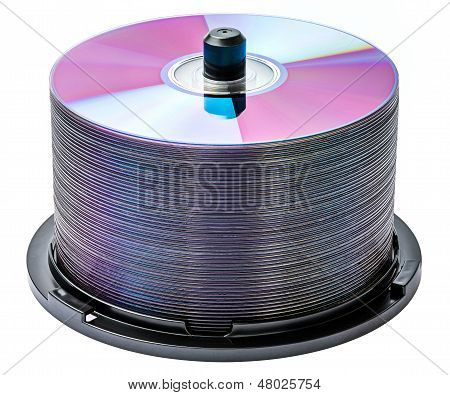 DVD disc stack isolated on white background poster