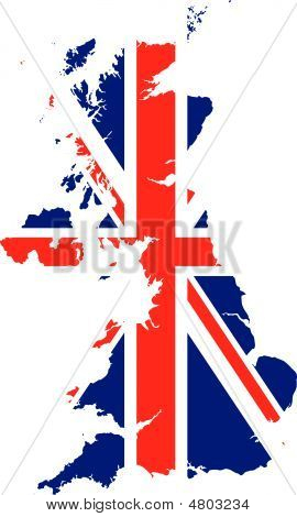 Vector image of Britain in a background of the British map poster