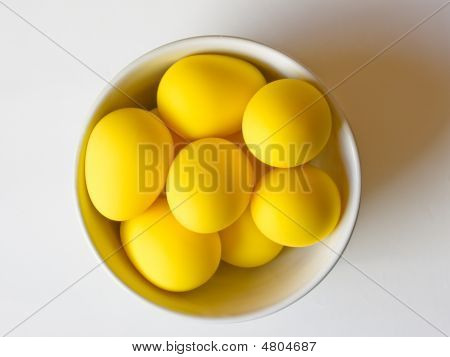 Easter Yellow Eggs In A Bowl