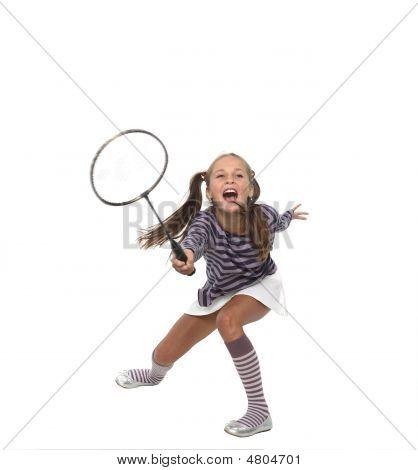 The Girl Playing Badminton