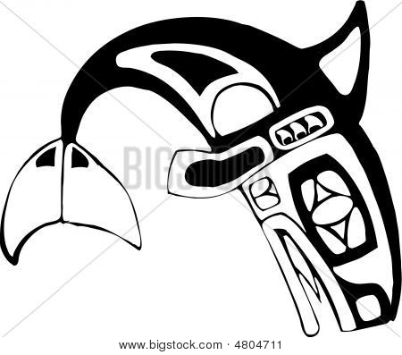 Orca-Killer Whale in the style of Northwest Coast Native Culture. poster