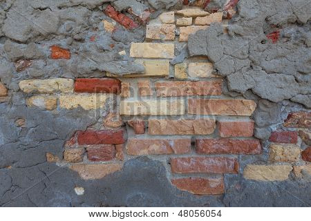 Rustic, Mixed Brick Wall And Concrete Patch Pattern Background,