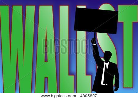 Man Holding A Blank Sign In Front Of Wall Street Graphic