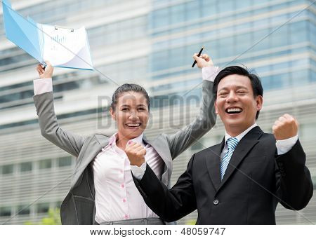 Excited Business Colleagues
