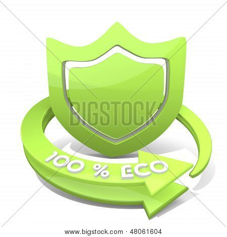 3D Render Of A Eco Protection Sign  A 100 Percent Eco