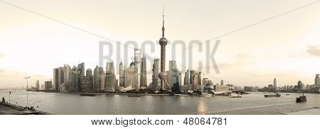 Shanghai's Modern Architecture Cityscape Panoramic Photo Skyline Of Reminiscence