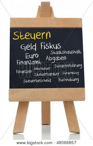 Tax written germman in yellow with a chalk on blackboard on white background