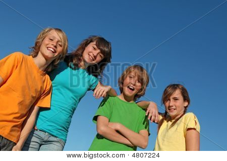 Group Of Kids Hanging Out.