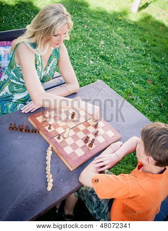 Playing Chess Outdoor
