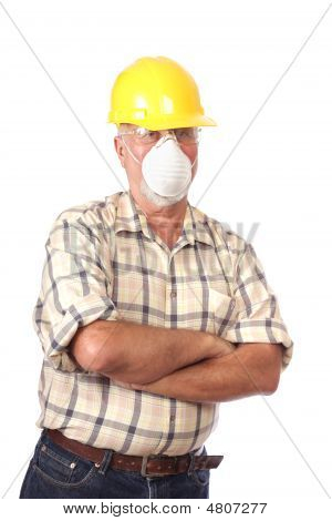 Builder In A Face Mask
