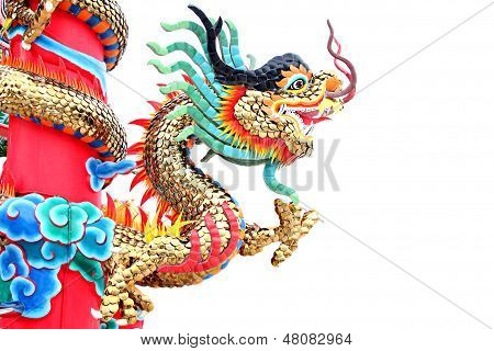 The Dragon Statues In Chinese Temple.