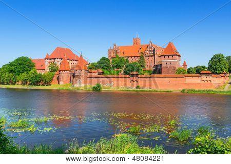 Malbork castle in summer scenery, Poland poster