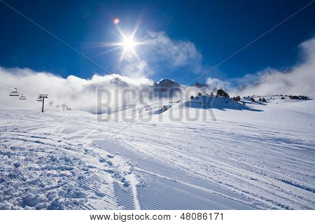 Clouds And Sky In Winter Resort