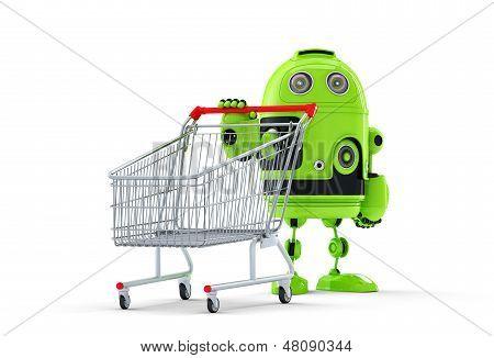 Android Robot And Cart. E-shop Concept