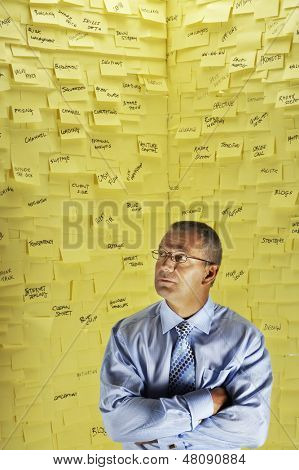 Middle aged businessman standing in front of wall covered in sticky notes