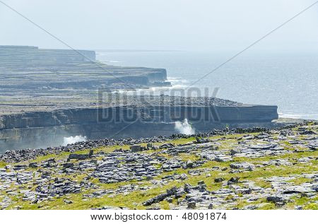 Irish landscape - view from Dun Aengus, an ancient fort. poster