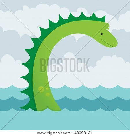 A vector illustration of an angry yet cute sea serpent. This is an Ai 10 file that contains gradients but does not contain any transparencies or blends. poster