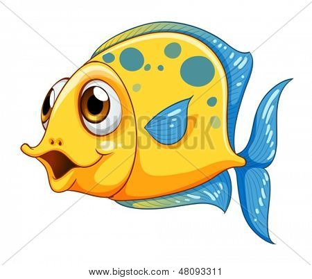 Illustration of a small yellow fish on a white background