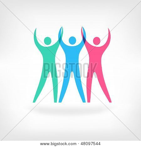 Conceptual Illustration Of The Success Of A Team. Abstract Human Figures