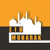Muslim community festival Eid Mubarak concept with mosque design on abstract background. poster