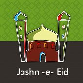 Jashn-e-Eid (Celebration of festival Eid) text with illustration of mosque on abstract green and grey background.  poster