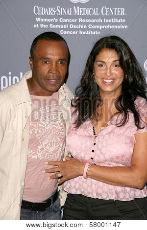 Sugar Ray Leonard and wife Bernadette  at the 4th Annual Pink Party. Santa Monica Airport, Santa Monica, CA. 09-13-08