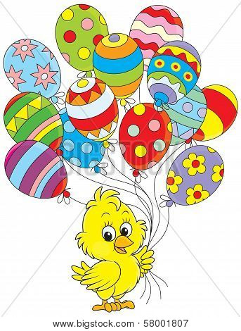 Easter Chick with balloons