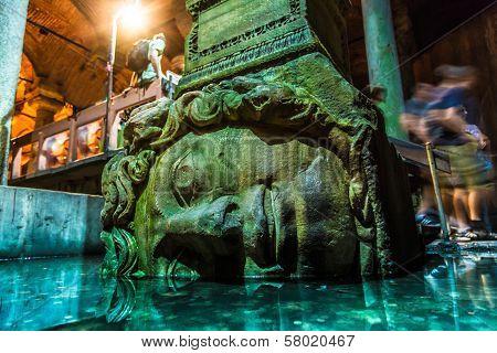 Medusa Haed In The Basilica Cistern, Istanbul, Turkey.