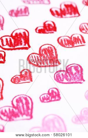 Hand painted red hearts isolated on white. Pastel chalks Valentine's Day abstract background poster