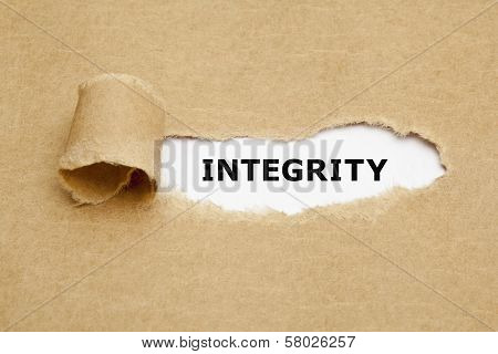 The word Integrity appearing behind torn brown paper. poster