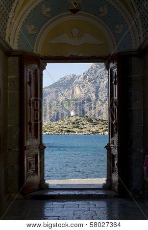 Looking Through Open Door On The Mountain.