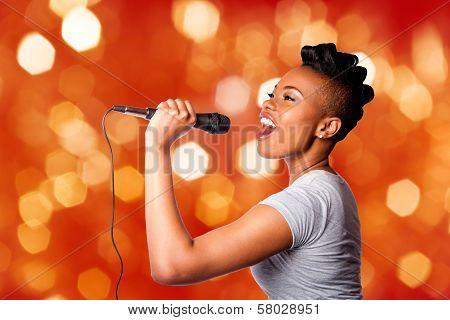 Singing Kareoke Woman With Microphone