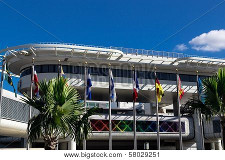 view of miami international airport flags at outdoor poster