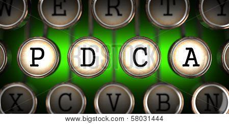 Old Typewriter's Keys with PDCA Slogan.