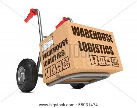 Cardboard Box with Warehouse Logistics Slogan on Hand Truck White Background. poster