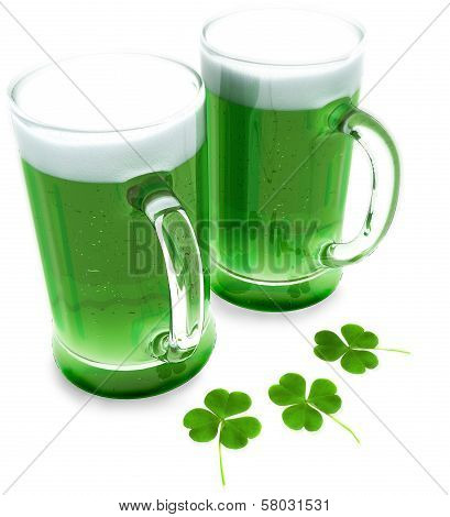 Two green beer's with clovers for St Patrick's day